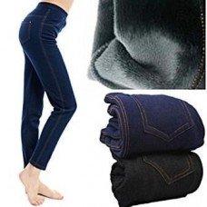 Лосины под джинс на меху с карманами синие